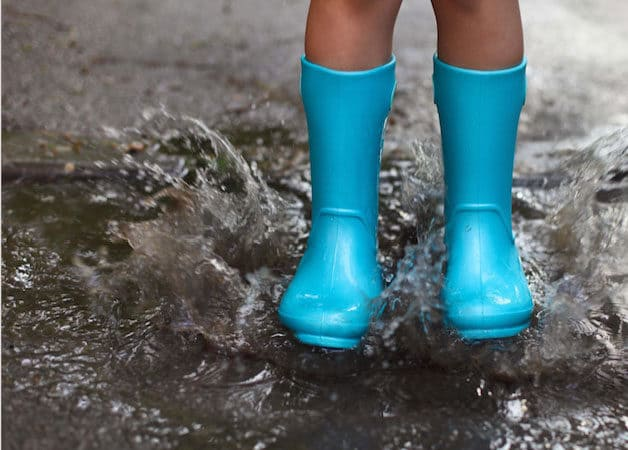 Blue boots splashing in puddle
