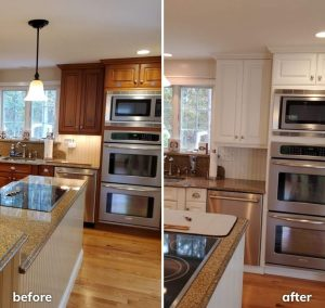Before and After of painted kitchen cabinets