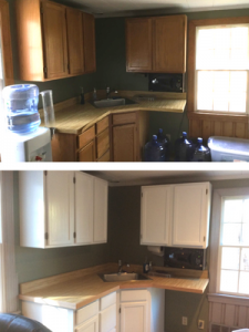 Before and after of wet bar.