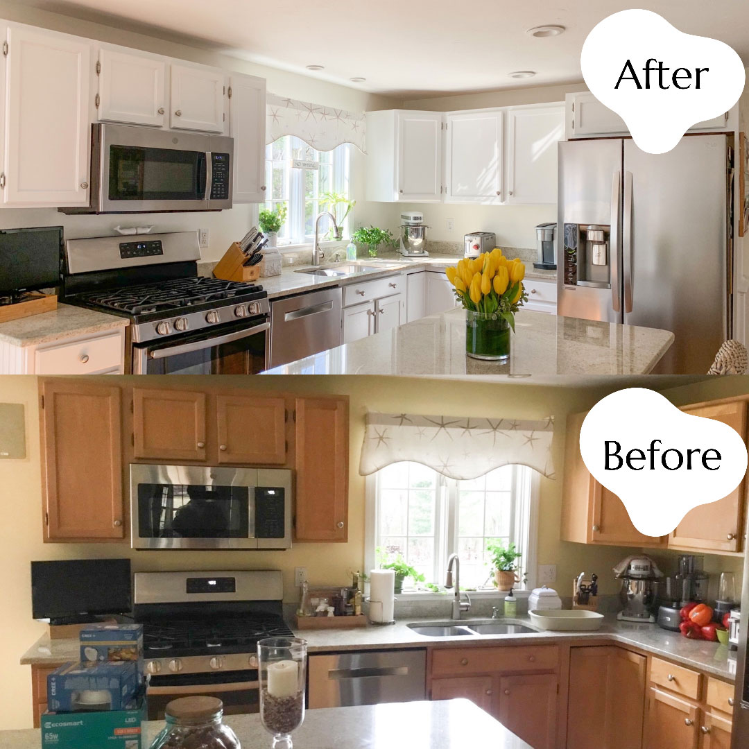 White kitchen cabinets after and before