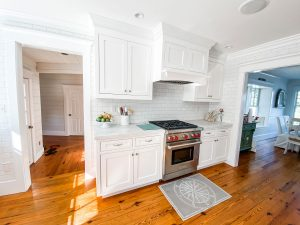 White kitchen cabinets refinished