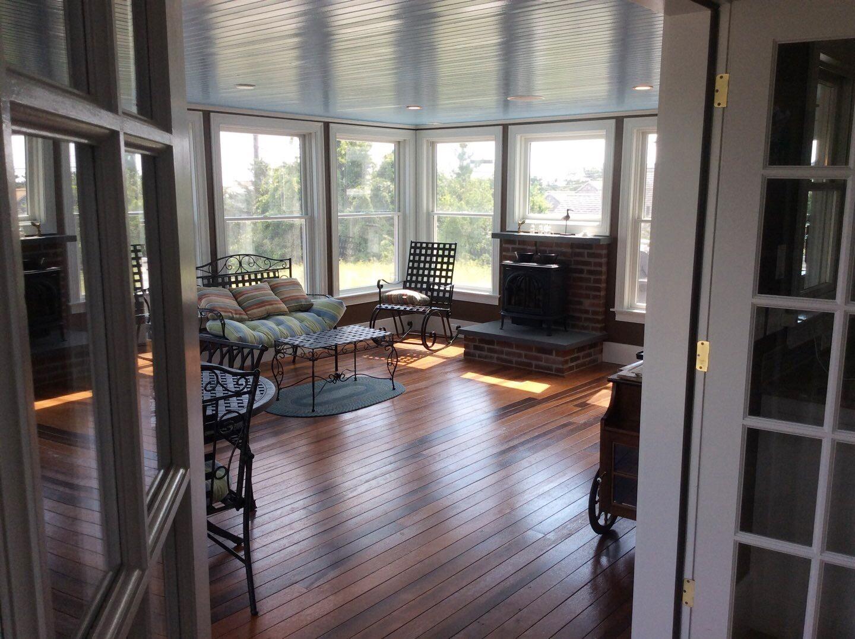 Painted Walls, Wood Ceiling, Doors and Windows of Sunroom