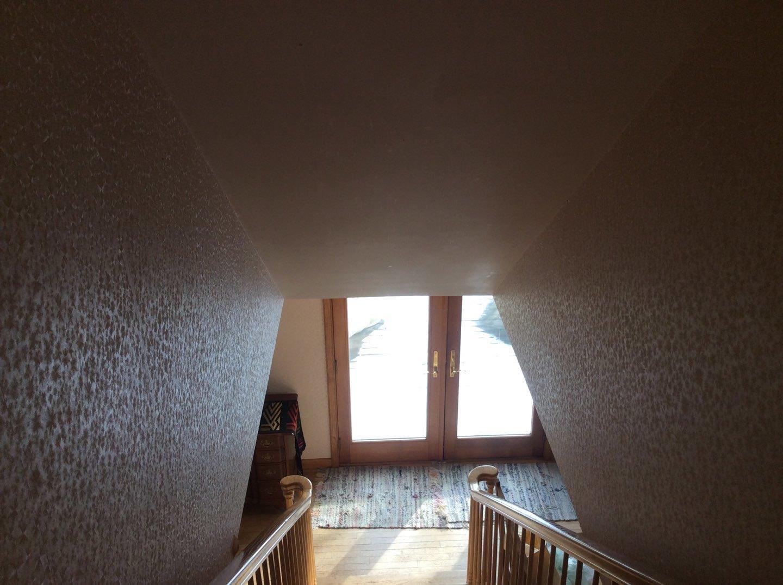 Stairway Before Wallpaper Removal in Eastham