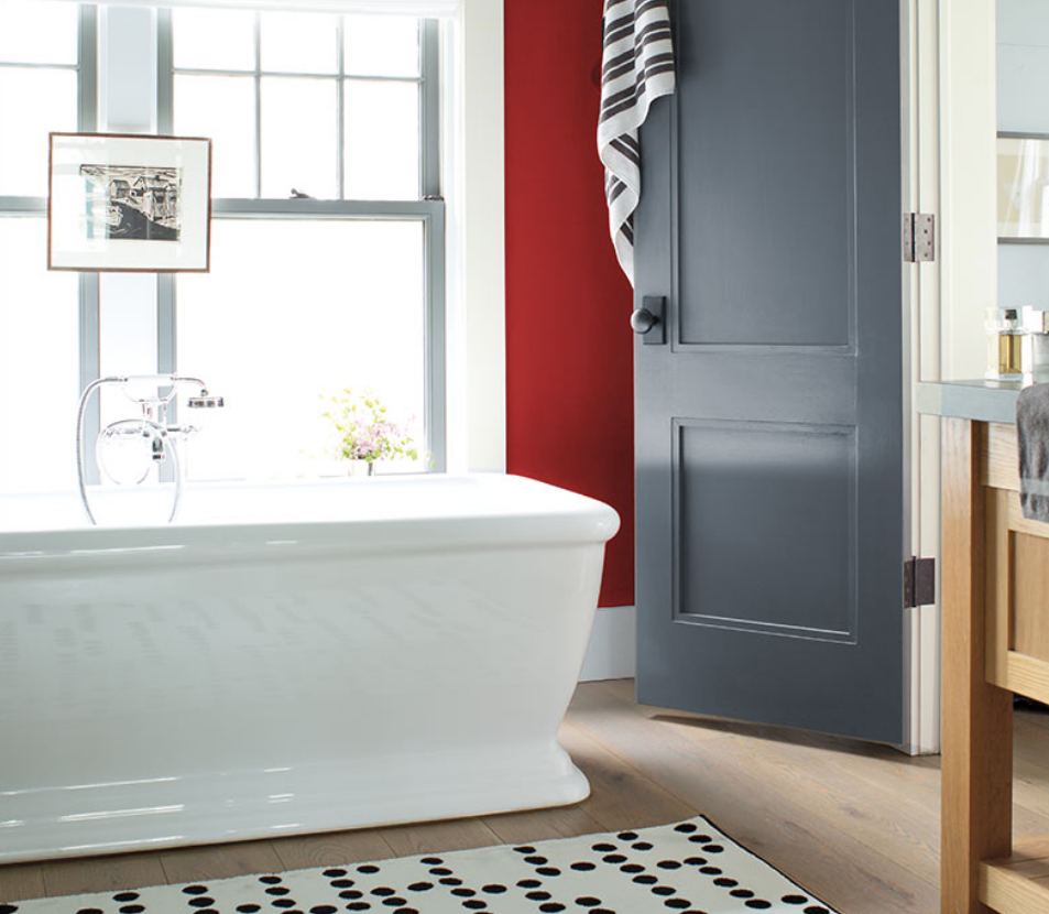 Add A Pop Of Color To An Unexpected Place U2013 Just One Red Accent Wall Can  Bring Your Bath To Life.